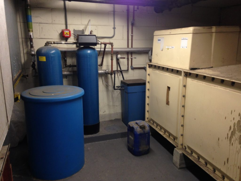 Blue water softener tanks as an example of a softener system